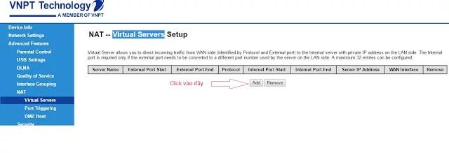 cach mo port modem VNPT