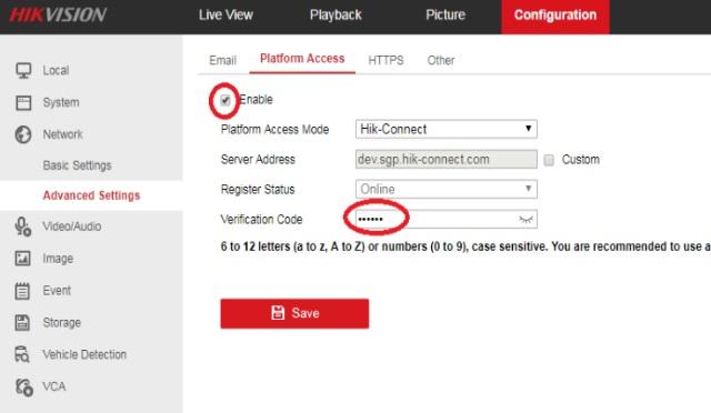 Cài đặt mạng nâng cao - Bật HIK-CONNECT